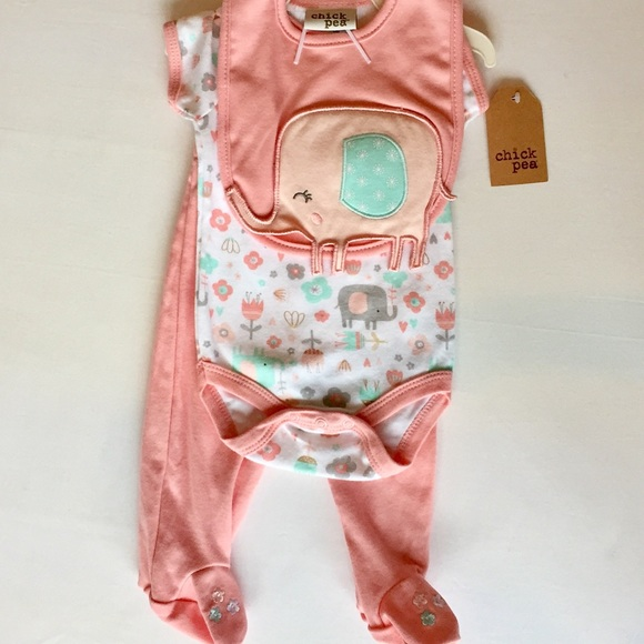 Chick Pea 7 Piece Baby Gift Set Bodysuit pants bib Sleeper 0-3; 3-6;6-9 Mo